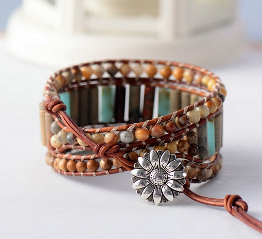 Bohemian 3 Strand Leather Woven Bracelet with Natural Jasper Stone Tubes and Beads