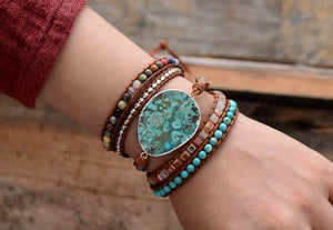 Handmade Leather And Natural Stone Wrap Bracelet With Gilded Stone Charm