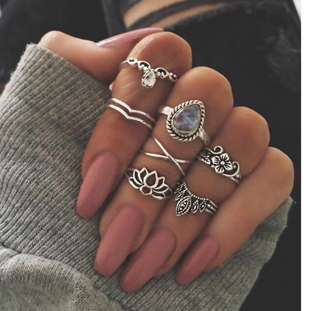 Bohemian Style Knuckle Ring Set With Lotus Drops