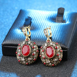 Cubic Zirconia and Ruby Mosaic Earrings in Antique Rose Gold