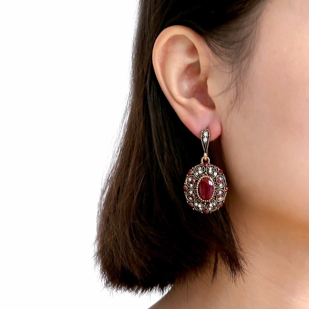 Cubic Zirconia and Ruby Mosaic Earrings in Antique Rose Gold Bohemian Style