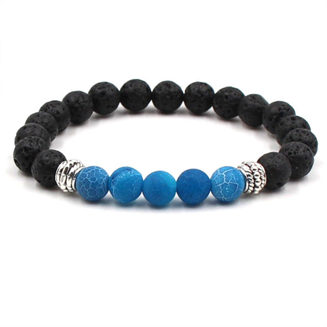 Essential Oil Diffuser Bracelet w/ Black Lava Stone and 5 Colored Glass Beads