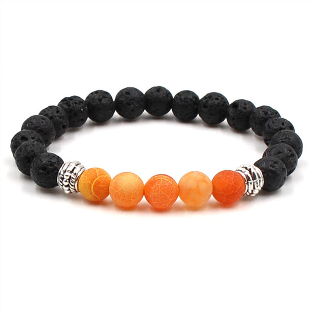 Essential Oil Diffuser Lava Stone Bracelet with 5 Colored Accent Beads