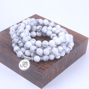 Howlite Bead Bracelet with Lotus Om or Buddha Charm