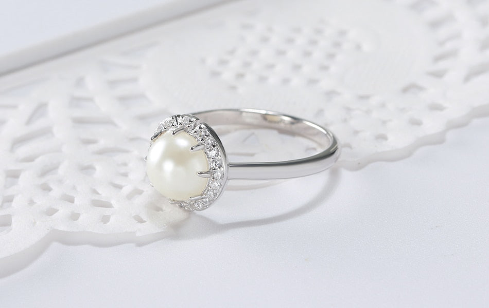 Sterling Silver Ring with Pearl Setting and Cubic Zirconia Crystals