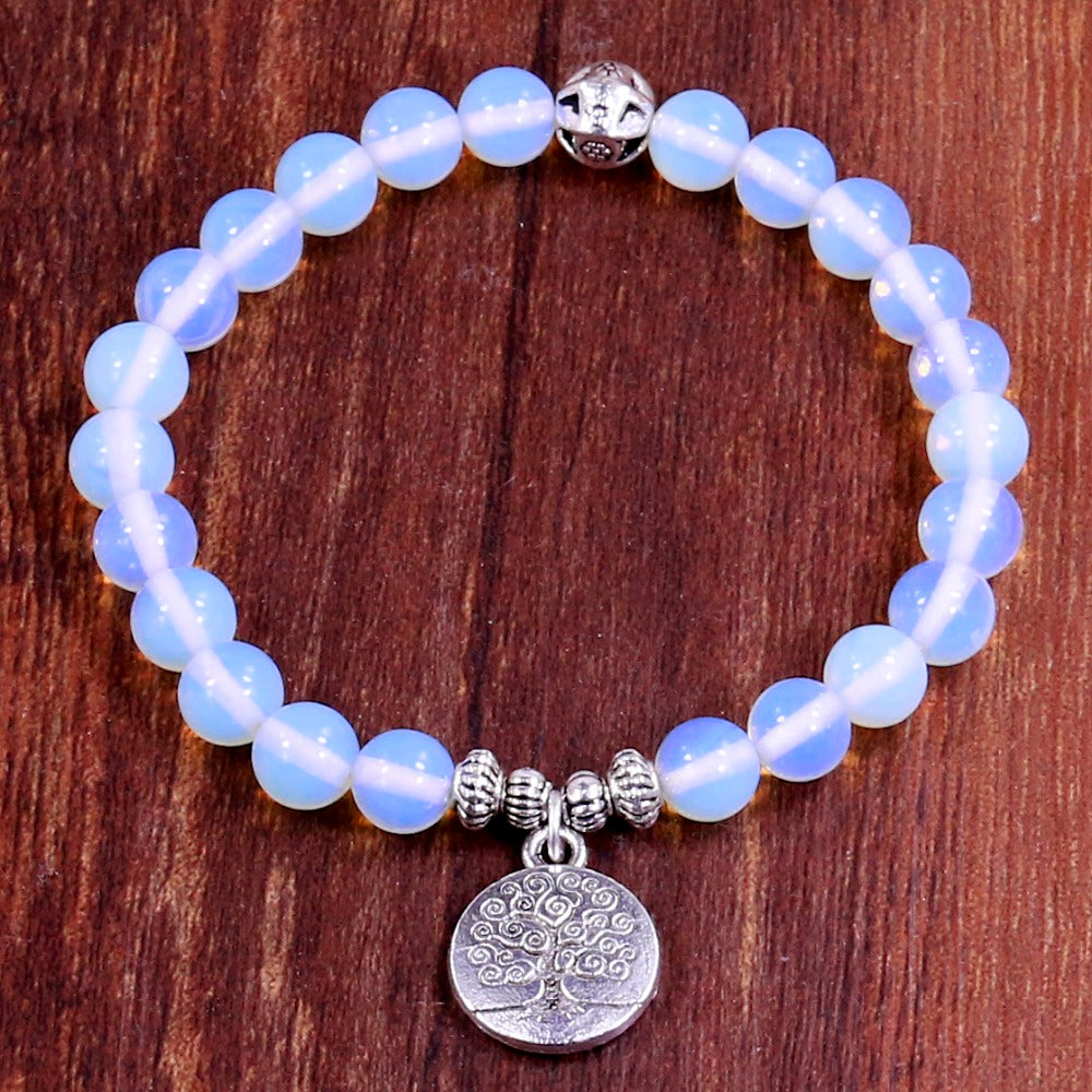 Tree of Life Charm Bracelet with Natural White Moonstone Beads
