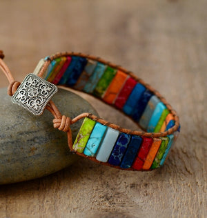 Chakra Leather Wrap Bracelet With Natural Stone