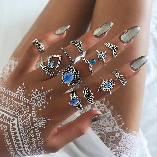 Boho Chic Knuckle Ring Set 13 Assorted Pieces Including Turtle and Heart Patterns