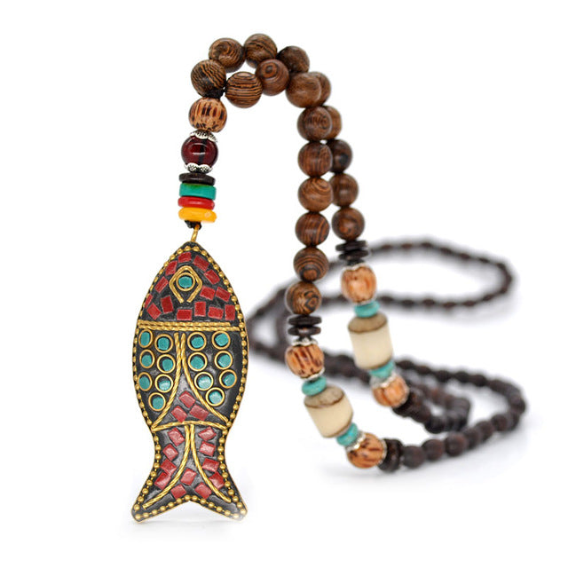 Handmade Nepali Buddhist Wooden Mala Bead Necklace with Fish Pendant