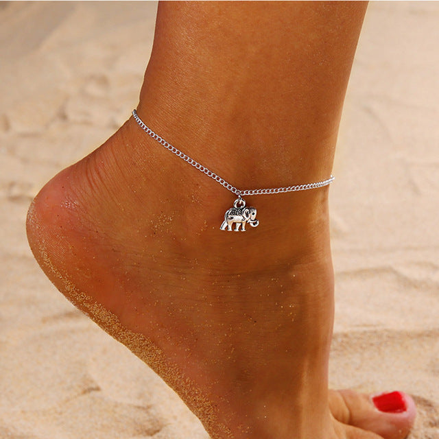 Silver Anklet with Bohemian Style Elephant Charm