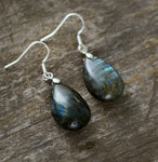 Natural Labradorite Water Drop Dangle Earrings