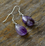 Natural Amethyst Water Drop Dangle Earrings