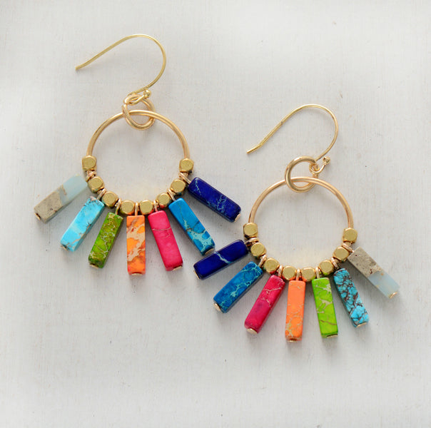 Chakra Colored Natural Stone Dangle Earrings