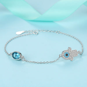 Sterling Silver Bracelet with Hamsa and CZ Blue Evil Eye Austrian Crystal Bracelet