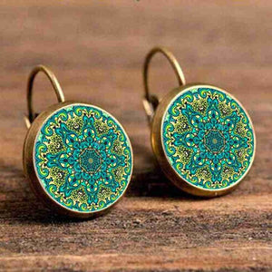 Cabochon Polished Glass Green Pattern Earrings