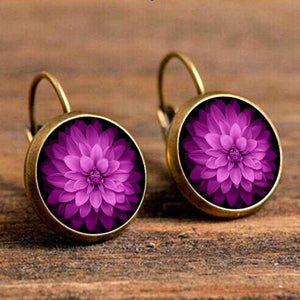 Cabochon Polished Glass Flower Earrings