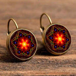 Cabochon Polished Glass Red Mandala Earrings