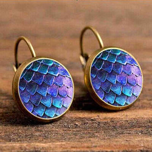 Cabochon Polished Glass Fish Scale Earrings