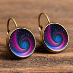 Cabochon Polished Glass Galaxy Earrings