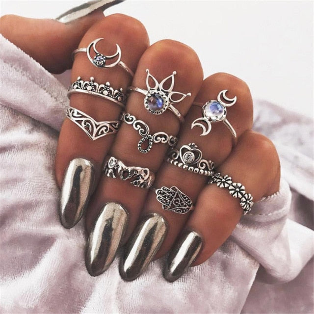 Boho Chic Knuckle Ring Set 10 Pieces Elephant, Hamsa, Moon Patterns