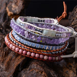 Handmade Natural Stone Single Wrap Friendship Bracelets Set of 5