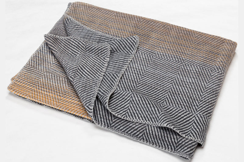 SAVONA Cotton Velour Throw | Herringbone | GoldGrey | 150 x 200 cm