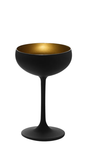 Stoelzle Olympic Champagne Saucer Black/Gold Glass Set of 6 Lead Free Crystal