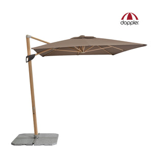 Outdoor Offset Cantilever Umbrella made with Wood Look Aluminium frame. Rectangluar canopy, 360 degree rotation, infinate tilting angels, easy open/close crank and UV 50+ protective fabric.