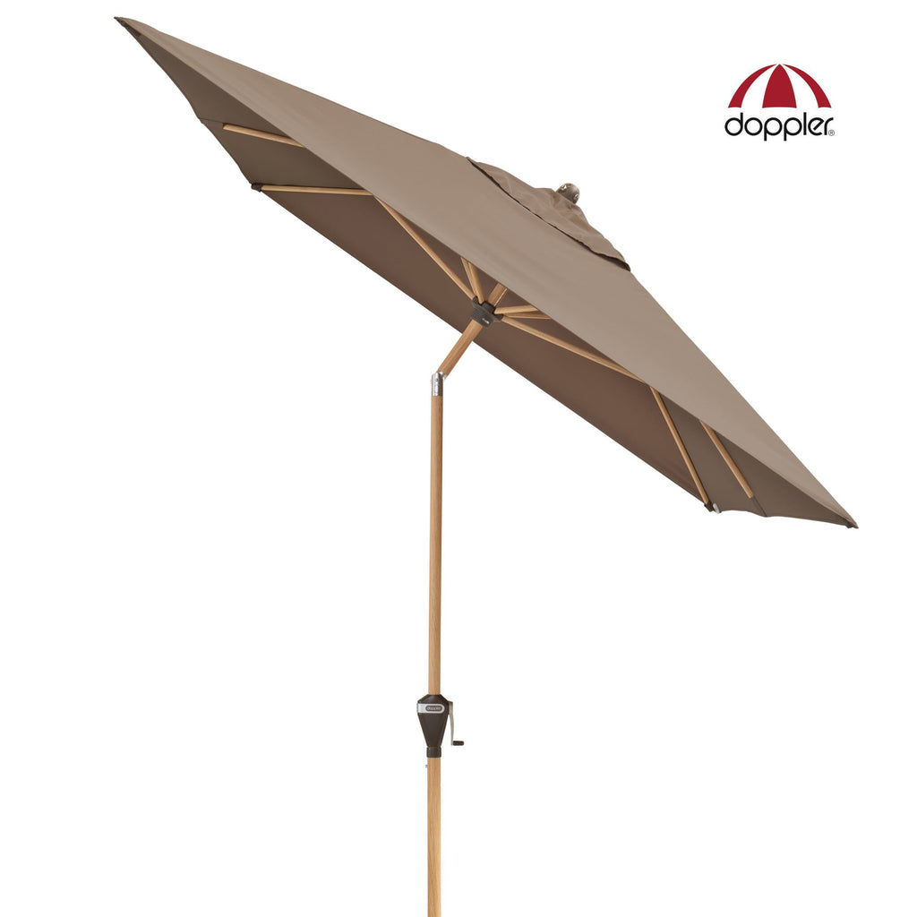 Outdoor Aluminium with Wood Look Centre Pole Umbrella (Parasol) with Auto-Tilt Mast and UV 50+ protective fabric
