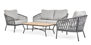 Nappa Cross Weave Outdoor Patio Lounge Set - 4 seater