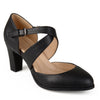 Womens Faux Leather Cross Strap Comfort Sole Pumps
