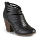 Womens Strappy Faux Leather Chunky Heel Booties
