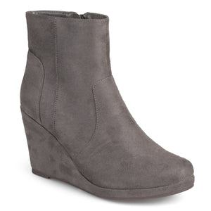 Womens Wedge Faux Suede Booties