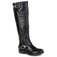 Brinley Co. Womens Regular and Wide-Calf Buckle Side-Zipper Riding Boot