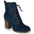 Womens Lace-up Stacked Heel Faux Suede Booties