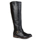Womens Regular and Wide-Calf Square-Buckle Ankle-Strap Riding Boot