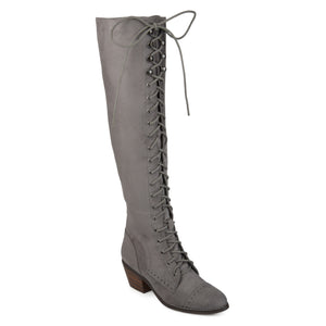 Womens Blitz Faux Suede Over-the-knee Lace-up Brogue Boots