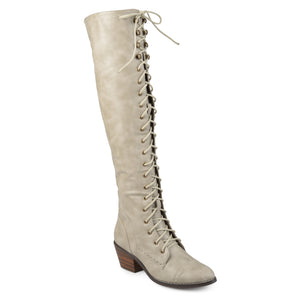 Womens Blitz Faux Leather Wide Calf Over-the-knee Lace-up Brogue Boots