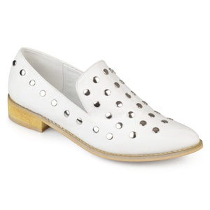 Womens Faux Nubuck Stud Pointed Toe Flats