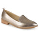 Womens Pointed Toe Faux Leather Laser Cut Stacked Heel Loafers