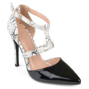 Womens Faux Patent Leather Pointed Toe T-strap Heels