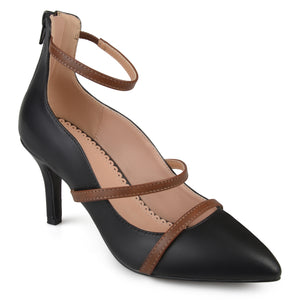 Womens Faux Leather Pointed Toe Ankle Strap Heels
