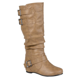 Womens Extra Wide Calf Buckle Slouch Low-wedge Boots