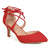 Womens Pointed Toe Lace-up Ankle Strap Pointed Toe Pumps
