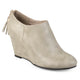 Womens Faux Leather Tassel Wedge Booties