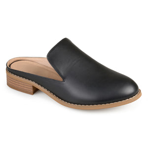 Womens Slide-on Stacked Heel Faux Leather Mules