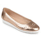 Womens Cyra Faux Leather Laser-cut Comfort-sole Embroidered Lightweight Flats