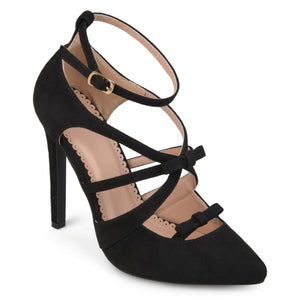 Womens Faux Suede Pointed Toe Bow Multi-strap Heels