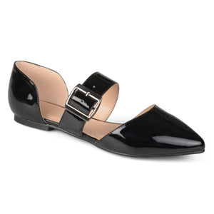 Womens Pointed Toe Buckle Faux Leather Flats