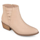 Womens Edina Faux Leather Stacked Heel Almond Toe Booties